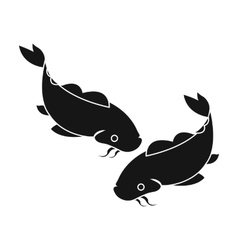 Koi icon in black style isolated on white vector image