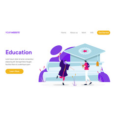 landing page template education concept vector image