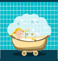 Little girl is taking a bath lots of bubbles vector