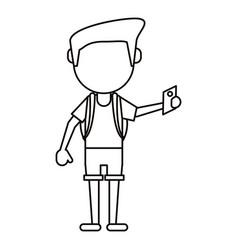 man tourist holding passport thin line vector image