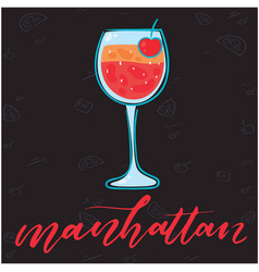Manhattan glass of cocktail black background vector
