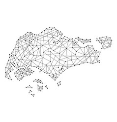 Map of singapore from polygonal black lines vector