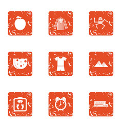 Matter icons set grunge style vector