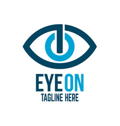 modern power button and eye logo vector image