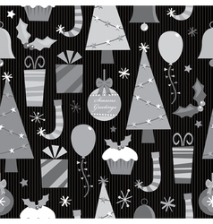 monochrome christmas pattern vector image