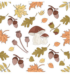 Mushroom landscape nature seamless pattern vector