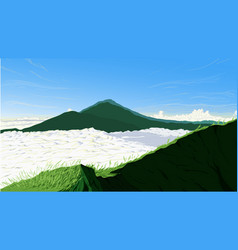 Nature background of batur mountain indonesia vector