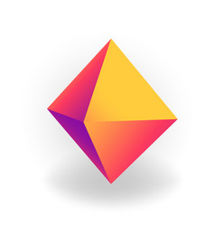octahedron - 3d geometric shape with holographic vector image