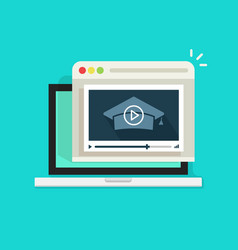 online educational webinar laptop with vector image