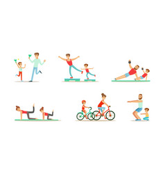 Parents and their kids doing sports together set vector