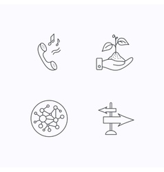 Phone global network and direction icon vector image