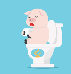 pig sitting on white toilet concept vector image