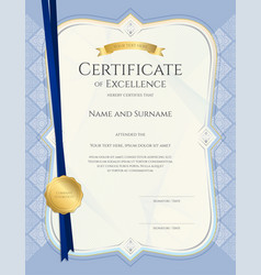 Portrait certificate of achievement template vector