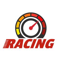 Racing dashboard logo flat style vector