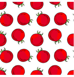 red tomatoes seamless pattern vector image