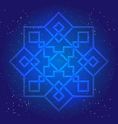 Sacral geometry figure in cosmic sky vector