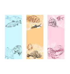 Seafood fish corals and seashells banner vector