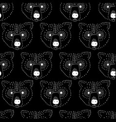 seamless pattern bear head white on black vector image