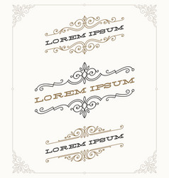 set elegant vintage ornamental emblems vector image