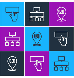 Set line keyboard ui or ux design and site map vector