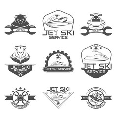 set logo jet ski scooter vector image