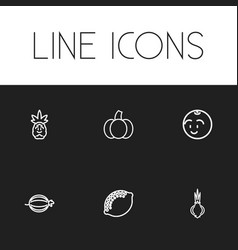 set of 6 editable cooking icons line style vector image