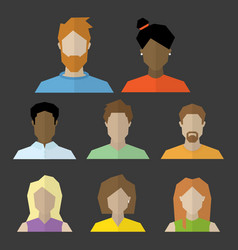 Set of 8 diverse profile heads vector