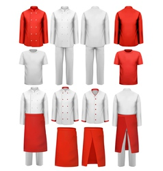 Set of cook clothing - aprons uniforms vector image