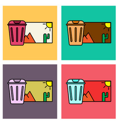 Set of delete image flat icon on color background vector