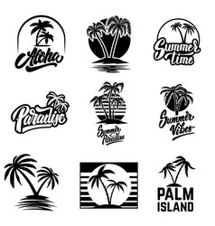 set of summer emblems and design elements design vector image