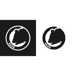 silhouette an bear monochrome logo vector image
