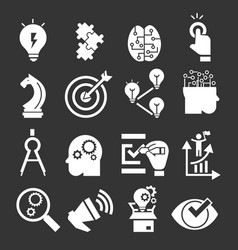 solution icon set simple style vector image