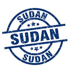 Sudan blue round grunge stamp vector