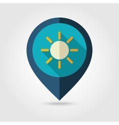 Sun flat pin map icon Meteorology Weather vector