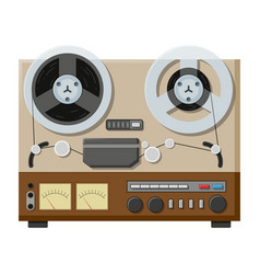 tape recorder deck or machine in retro style with vector image