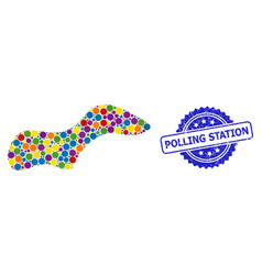 Textured polling station seal and colored collage vector