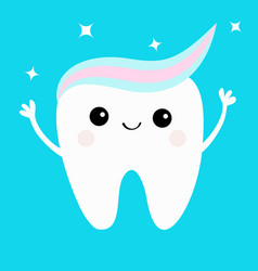Tooth with toothpaste hair hands up shining stars vector