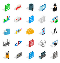 Tv hardware icons set isometric style vector