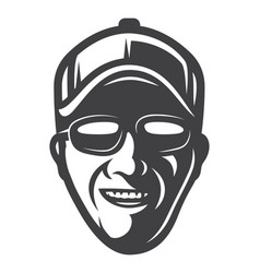 Vintage monochrome smiling fisherman face concept vector