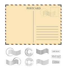 Vintage postcard with stamps template set of vector