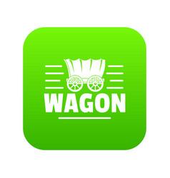 wagon icon green vector image