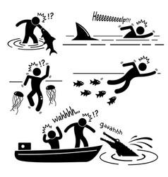 water sea river fish animal attacking hurting vector image
