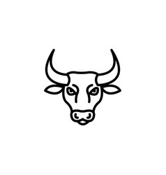 web line icon bull wild animals black on white vector image
