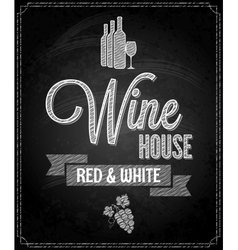wine menu design chalkboard background vector image