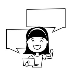 woman with laptop computer avatar character vector image
