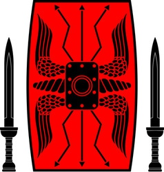 ancient shield and swords vector image vector image