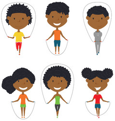cute african-american boys and girls skipping vector image vector image