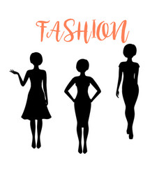 fashion woman silhouette with different hairstyle vector image vector image