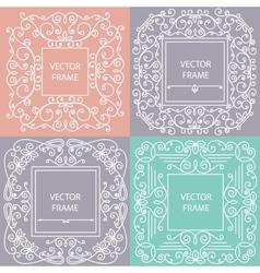 Ornamental frame monogram linear style vector image