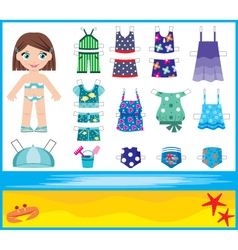 Paper doll with summer set of clothes vector image vector image
